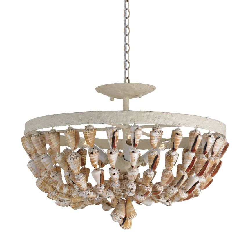 Currey and Company 9898 Waterside 3 Light Convertible Shell Pendant /