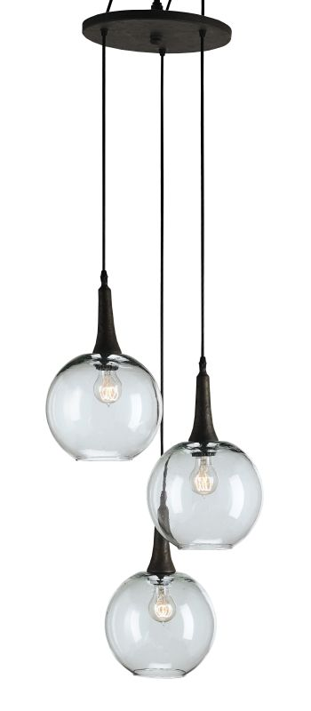 Currey and Company 9969 Beckett Trio Pendant Emery Rust Indoor