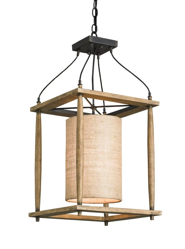 Currey and Company 9996 High Falls Lantern Blacksmith / Natural Ash /