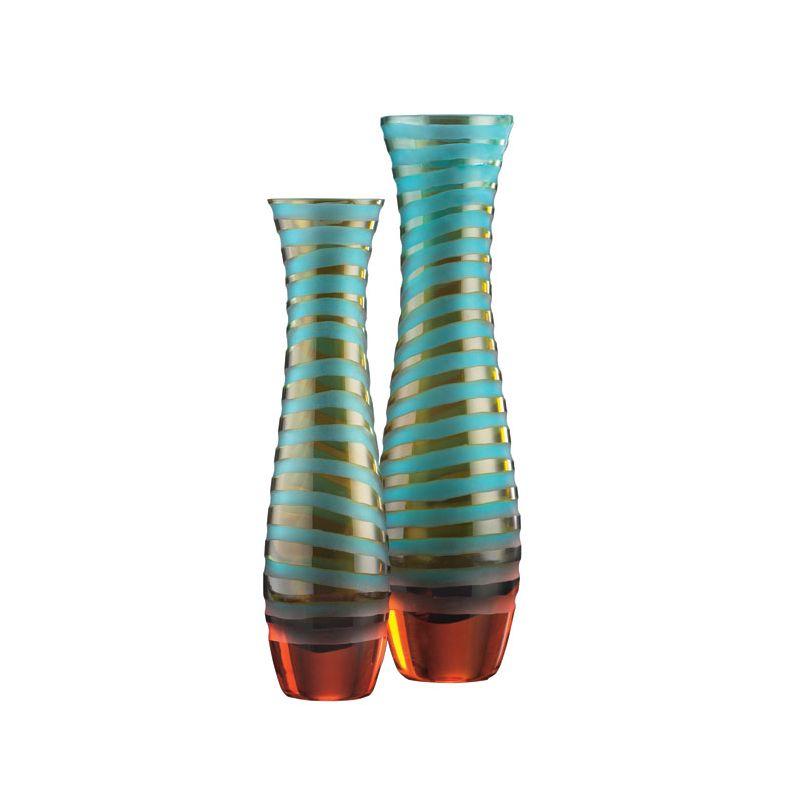 "Cyan Design 00074 12"" Medium Striped Vase Cyan Blue and Orange Home"