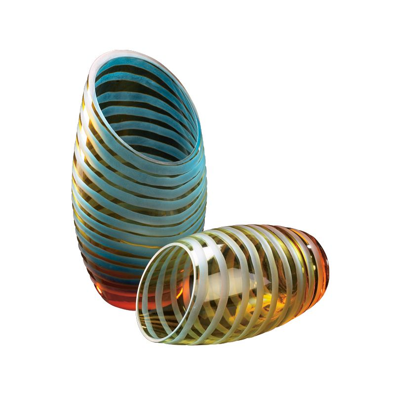 "Cyan Design 00104 10.25"" Large Angle Cut Chiseled Vase Cyan Blue and"