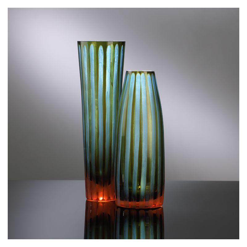 """Cyan Design 01128 11.5"""" Large Cyan And Orange Striped Vase Cyan Blue"""