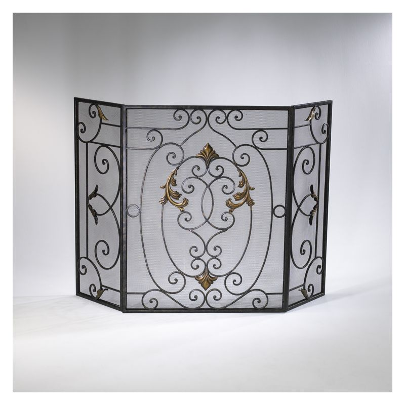 "Cyan Design 01351 32.25"" French Fire Screen Rust with Gold Accents"