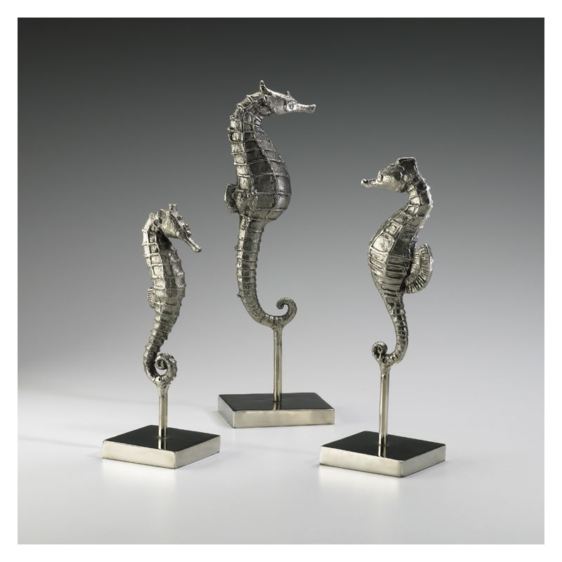 "Cyan Design 01865 12.75"" Seahorses On Stand Chrome Home Decor Statues"