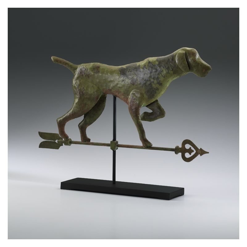 "Cyan Design 01885 17.5"" Dog On Stand Verde and Rust with Black Stand"