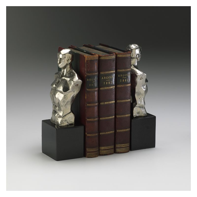"Cyan Design 01895 9"" Hercules Bookends Chrome with Black Granite Base"