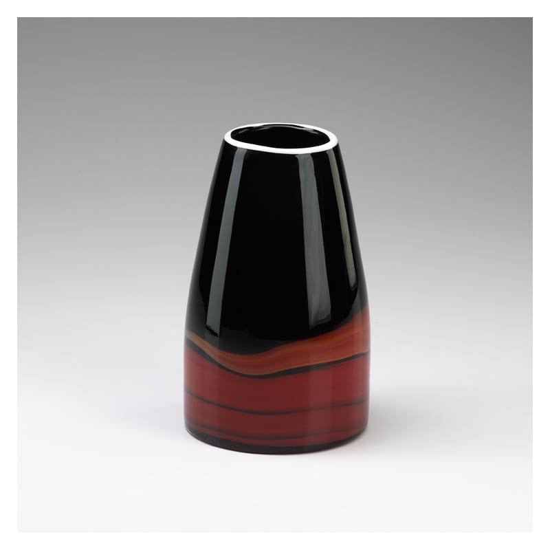 "Cyan Design 02141 8.75"" Medium Black And Deep Red Swirl Vase Black and"