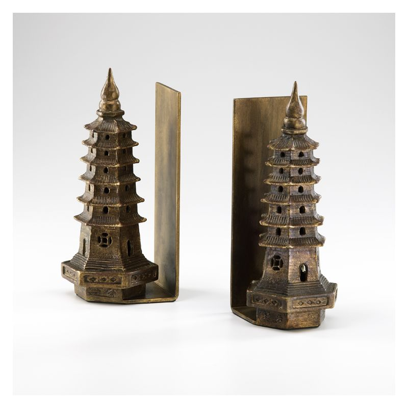 "Cyan Design 02270 10"" Pagoda Bookends Gold Leaf Home Decor Bookends"