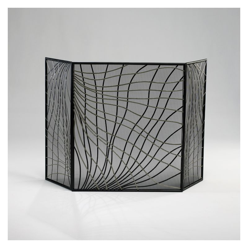 "Cyan Design 02447 30"" Finley Fire Screen Silver and Black Home Decor"