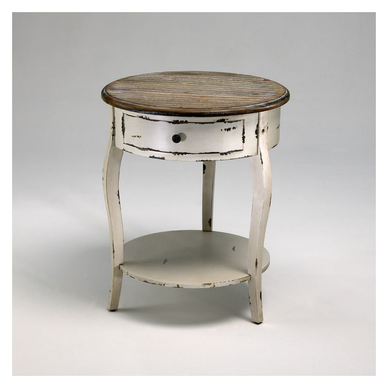 "Cyan Design 02469 24.5"" Abelard Side Table Distressed White and Gray"