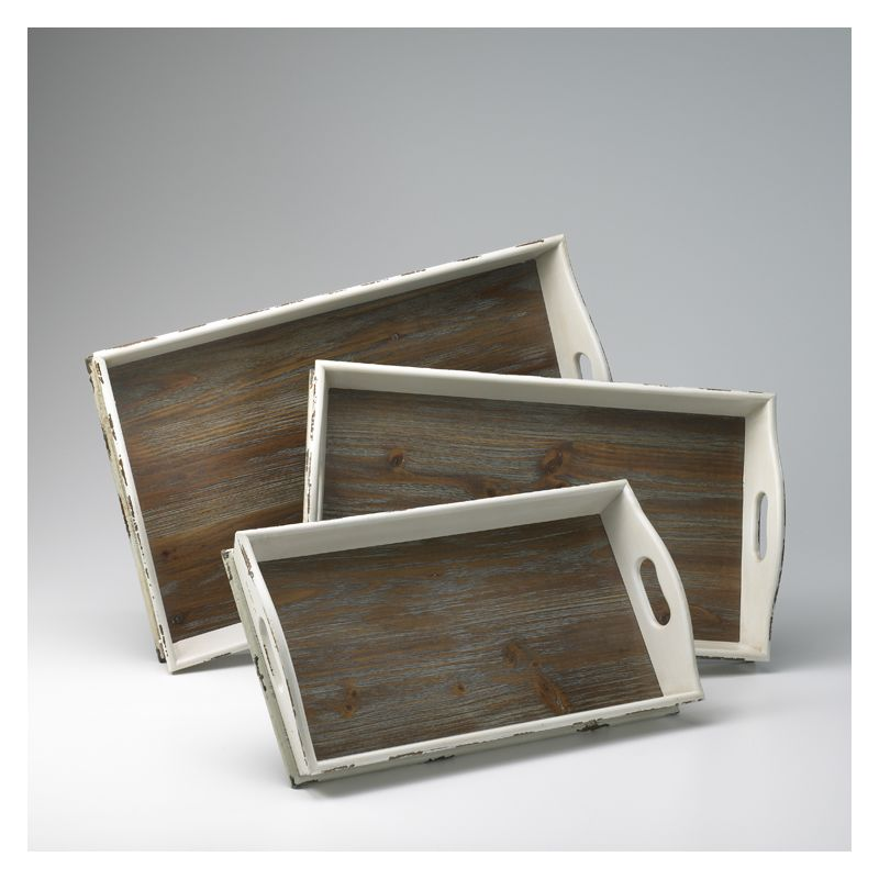"Cyan Design 02470 4.25"" Alder Nesting Trays Distressed White and Gray"