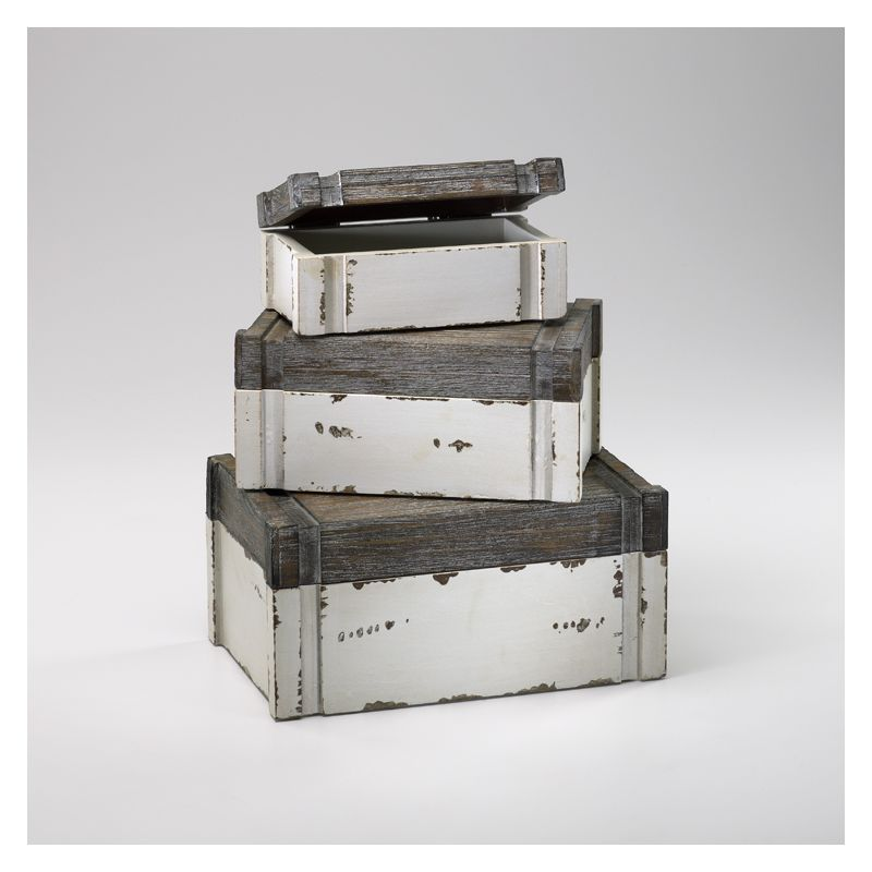 "Cyan Design 02471 5"" Alder Boxes Distressed White and Gray Home Decor"