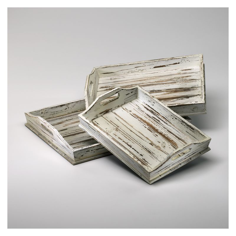 "Cyan Design 02511 3"" Rectangular Trays Distressed White Home Decor"