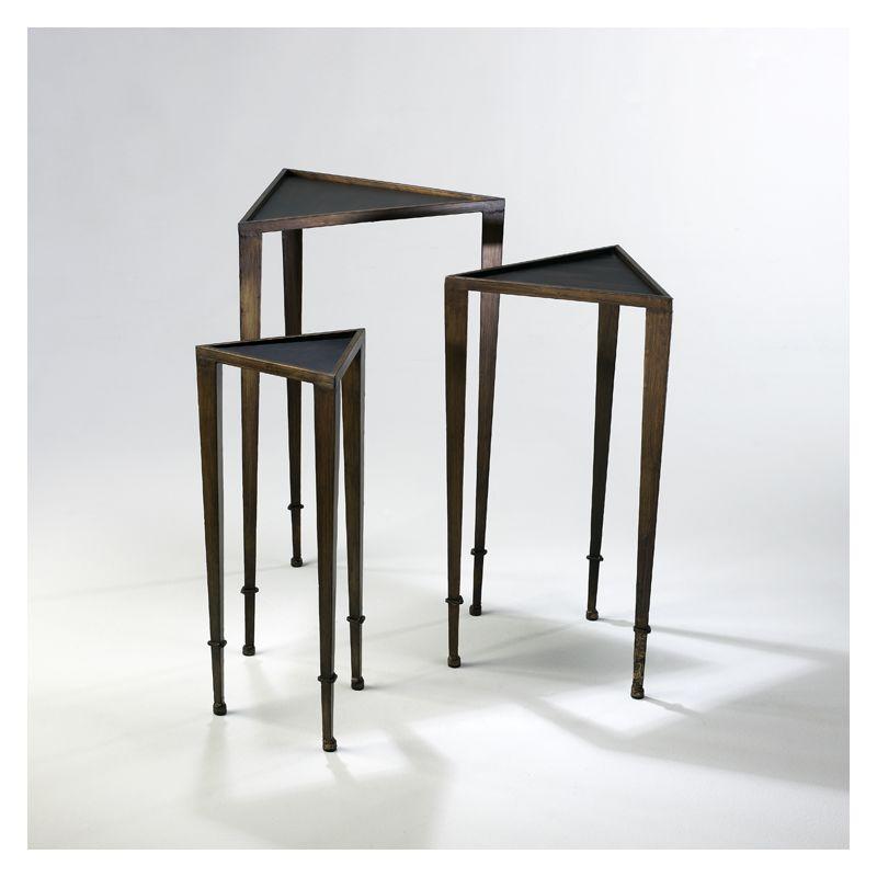 """Cyan Design 02731 29.75"""" Triangle Nesting Tables Ebony and Mahogany"""