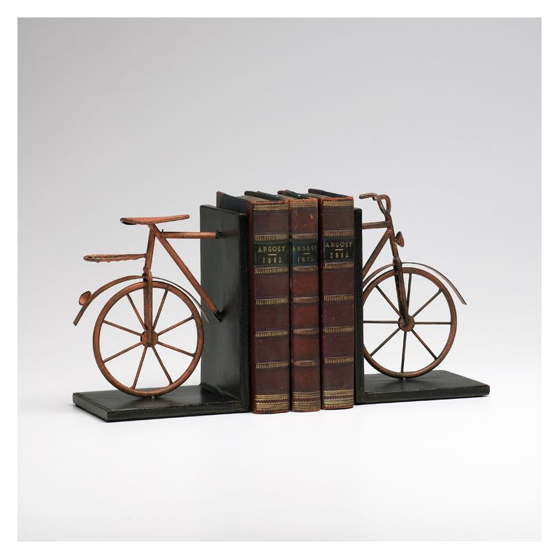 "Cyan Design 02796 8.25"" Bicycle Bookends Muted Rust Home Decor"