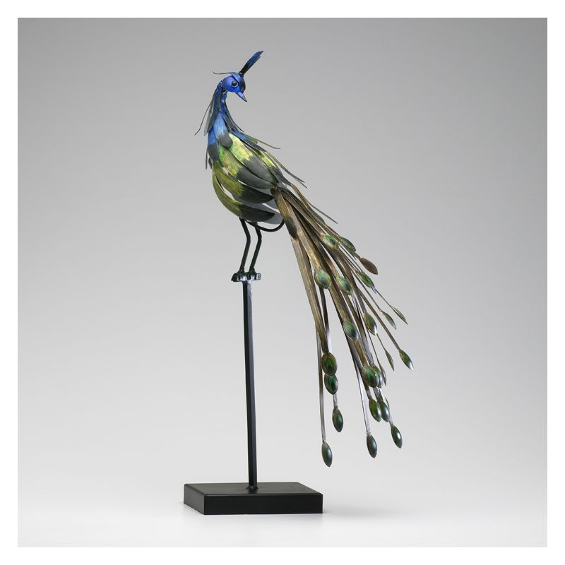 "Cyan Design 02826 24.5"" Peacock On Stand #2 Multi Colored Home Decor"