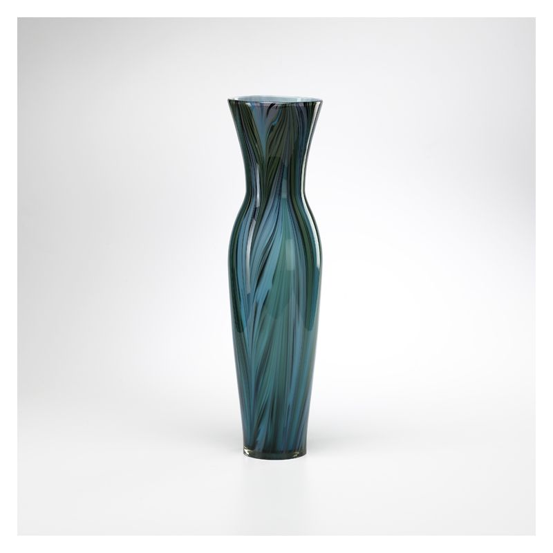 "Cyan Design 02921 23"" Tall Peacock Feather Vase Multi Colored Blue"