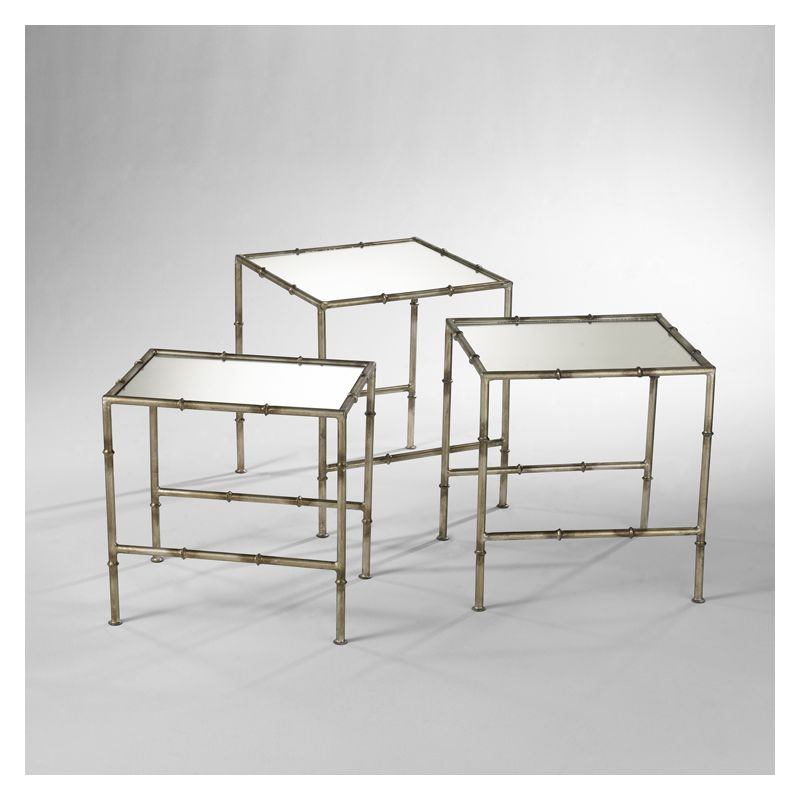 "Cyan Design 03068 20"" Bamboo Nesting Tables Antique Bronze Furniture"