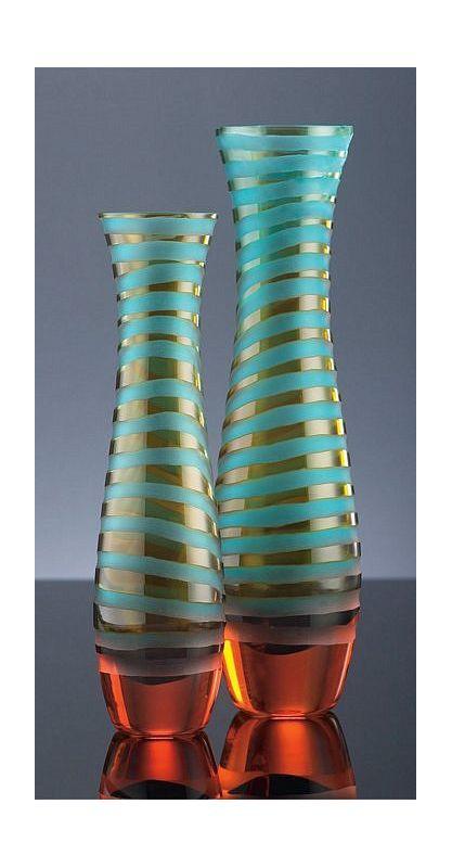 "Cyan Design 00075 14"" Large Striped Vase Cyan Blue / Orange Home Decor"