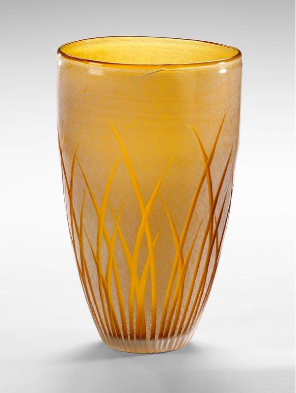 "Cyan Design 04252 10"" Large Aquarius Vase Amber / White Home Decor"