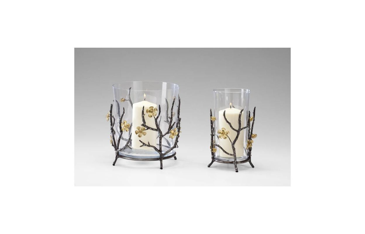"Cyan Design 04354 9"" Small Candle Holder Raw Steel / Gold Home Decor"