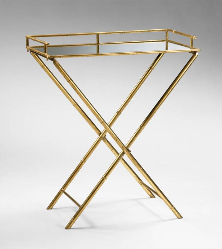 "Cyan Design 04445 16"" Bamboo Tray Table Gold Leaf Home Decor"