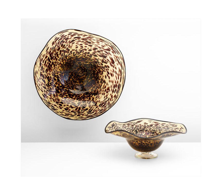 "Cyan Design 04493 19.75"" Large Leopard Art Glass Bowl Black / Brown"