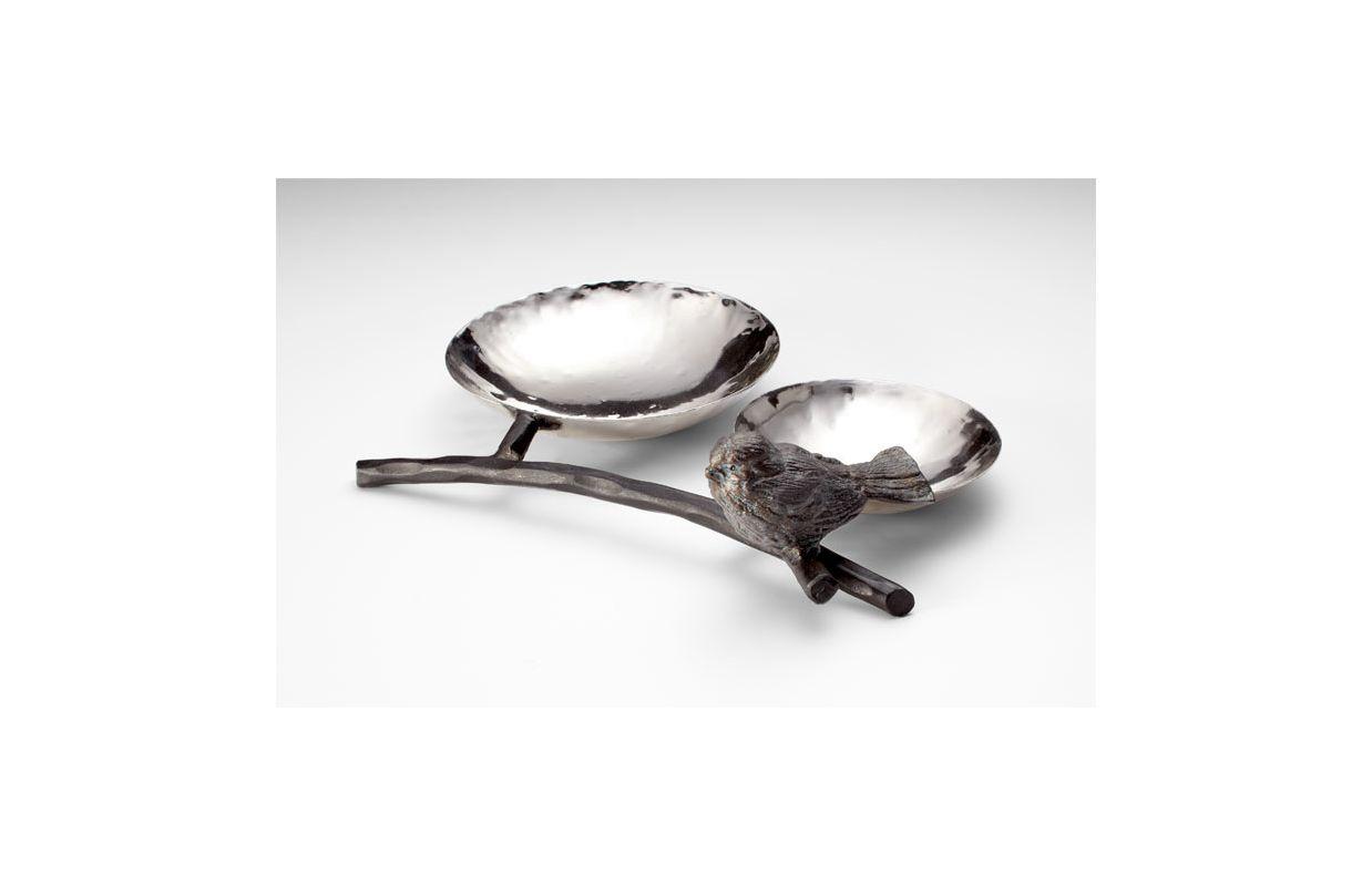 "Cyan Design 04688 10.5"" Bird Tray Silver / Bronze Home Decor"