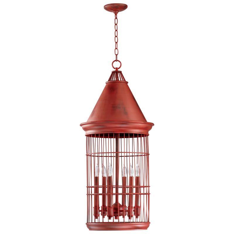 Cyan Design 04753 6 Light Lantern Pendant Red Indoor Lighting Cage