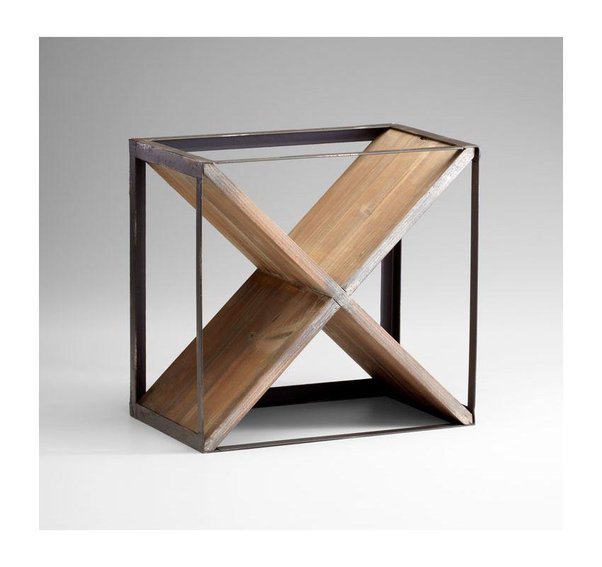 "Cyan Design 04859 15.5"" Wine Rack Raw Iron / Natural Wood Home Decor"