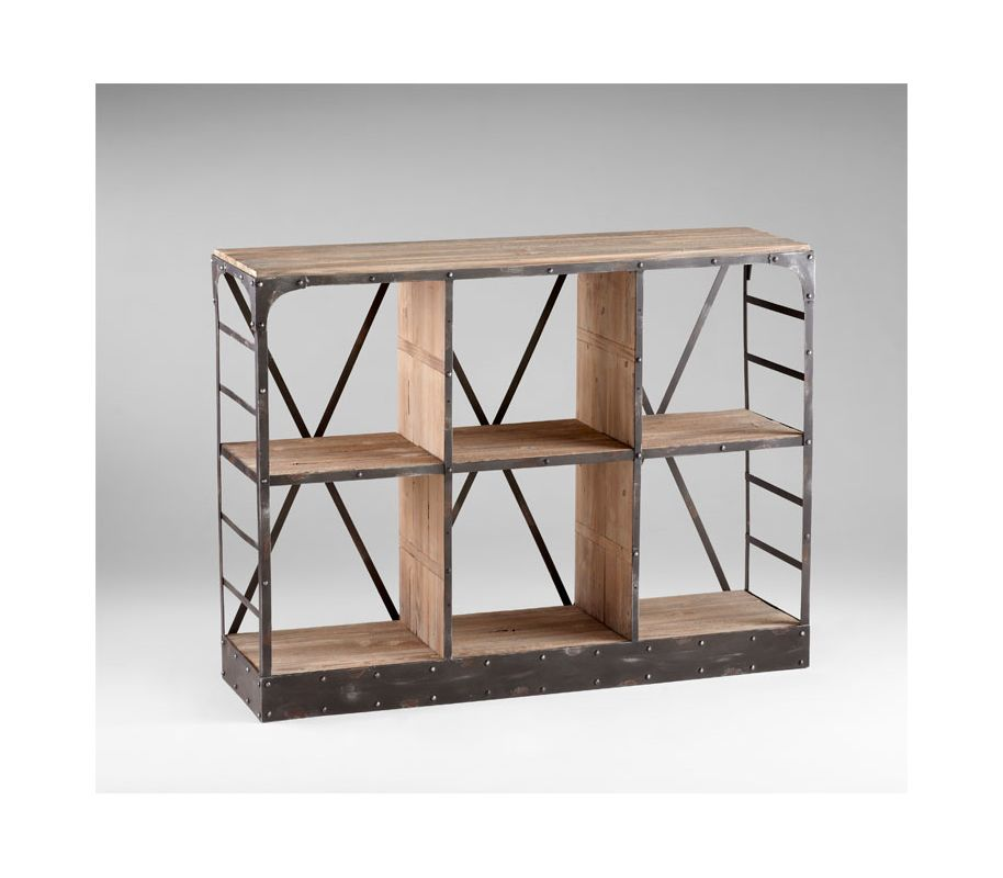Cyan Design 04860 Newberg Storage Console Raw Iron / Natural Wood
