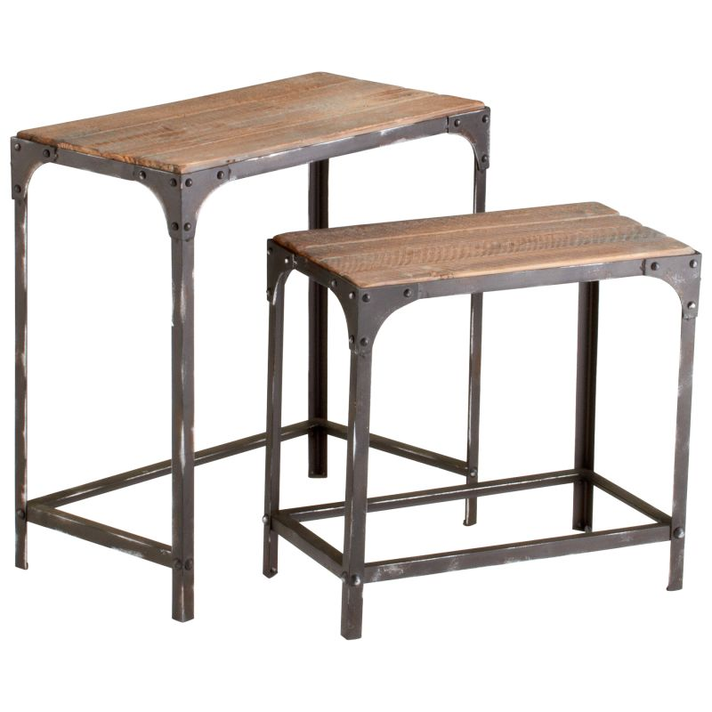 Cyan Design 04866 Winslow Nesting Tables Raw Iron and Natural Wood