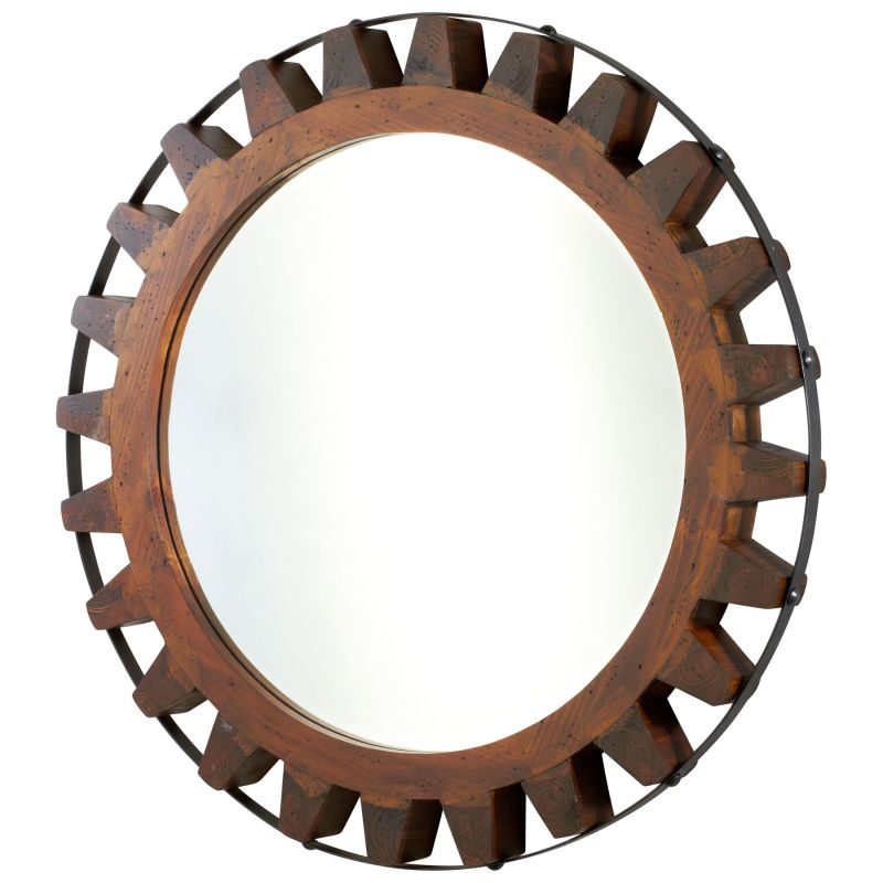 Cyan Design 04911 Landry Rounded Mirror Raw Iron and Natural Wood Home