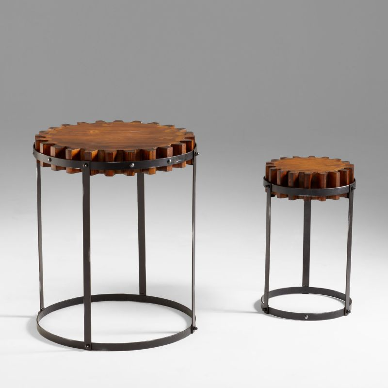 Cyan Design 04912 Gear Accent Tables Raw Iron and Natural Wood
