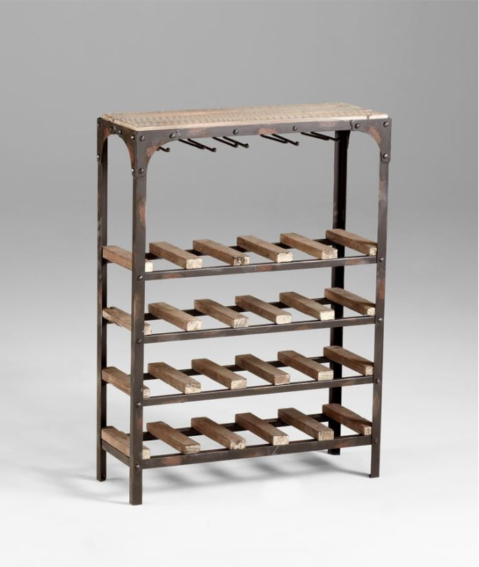 "Cyan Design 04978 34"" Gallatin Wine Rack Wine Rack Raw Iron / Natural"