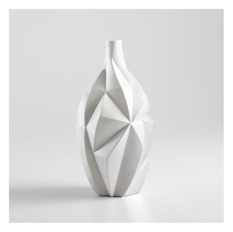 "Cyan Design 05000 16"" Medium Glacier Vase Gloss White Glaze Home Decor"