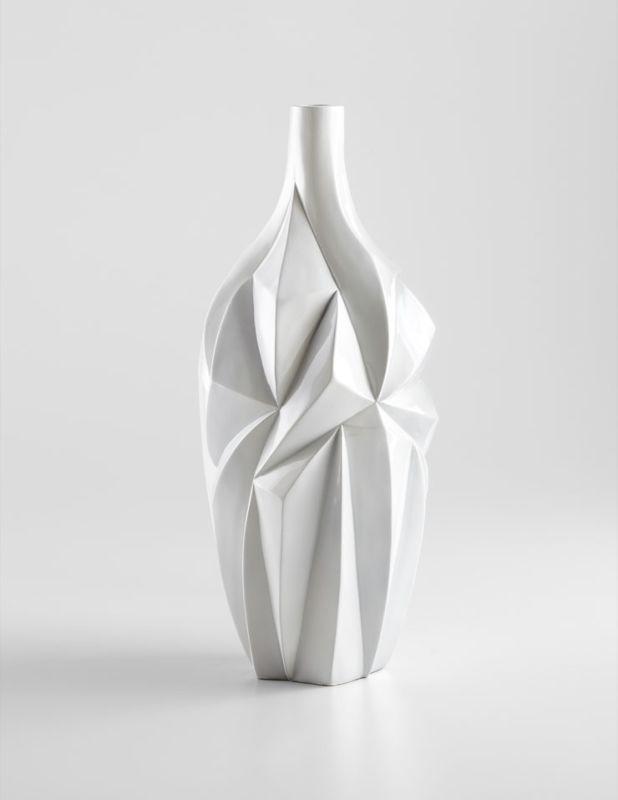 "Cyan Design 05001 21"" Large Glacier Vase Gloss White Glaze Home Decor"