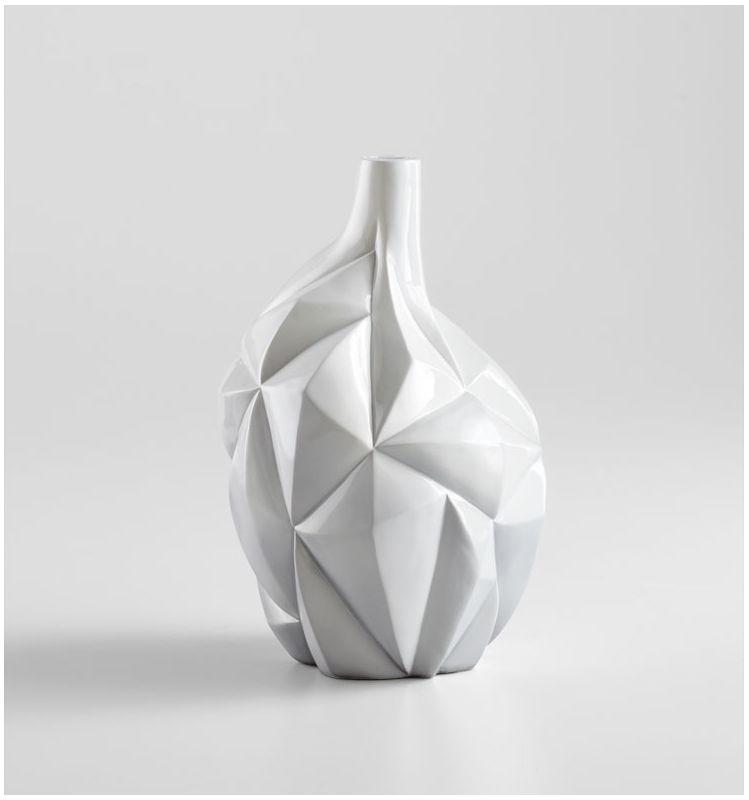 """Cyan Design 05002 13"""" Small Glacier Vase Gloss White Glaze Home Decor"""