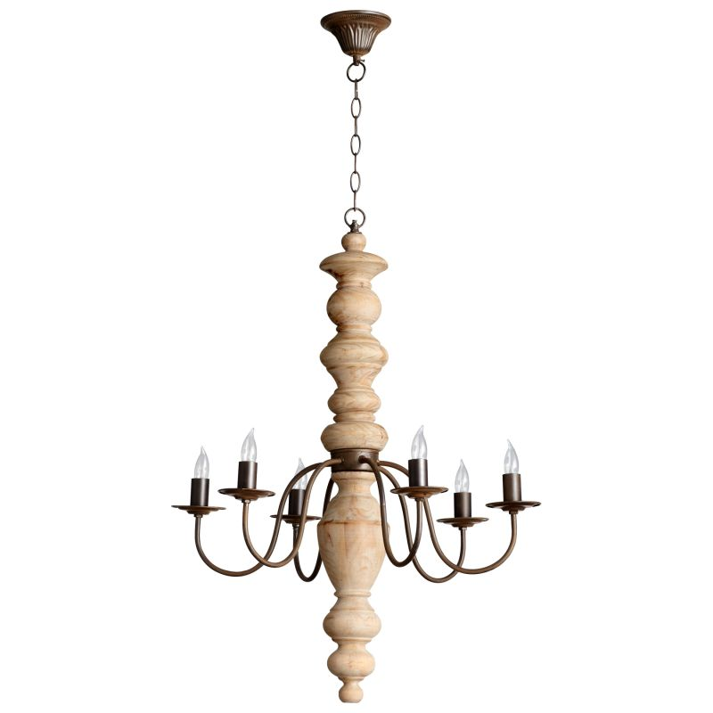 Cyan Design 05096 Wilshire 6 Light 1 Tier Chandelier Rustic and White