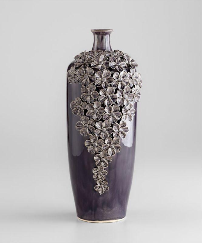 "Cyan Design 05145 19.5"" Large Daisy Vase Black Gloss Glaze Home Decor"