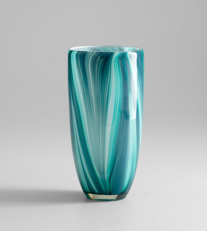 """Cyan Design 05181 10.25"""" Small Turin Vase Turquoise Blue Home Decor"""