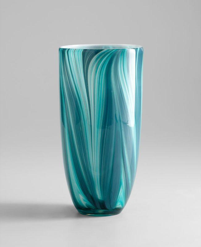 "Cyan Design 05182 11.81"" Large Turin Vase Turquoise Blue Home Decor"