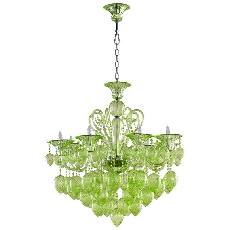 Cyan Design 05205 Bella Vetro 8 Light 1 Tier Chandelier Green Indoor