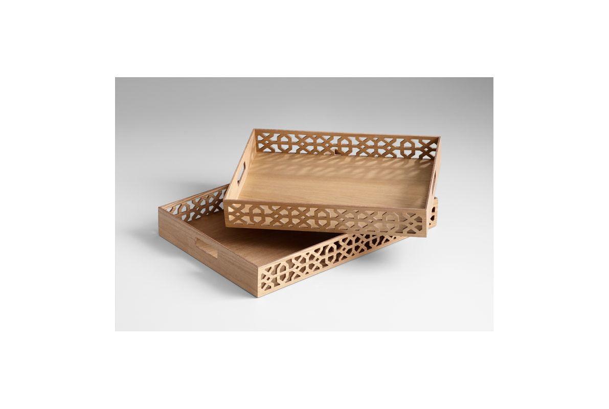 "Cyan Design 05225 23.5"" Rectangular Xoxo Trays Ash Veneer Home Decor"
