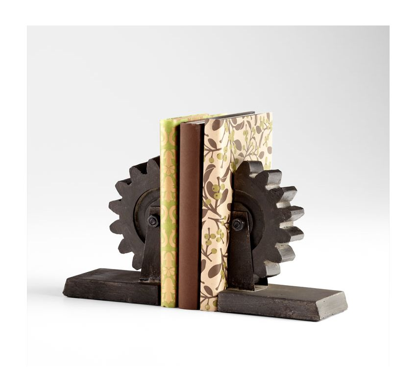 "Cyan Design 05347 7"" Gear Book End Raw Steel Home Decor Bookends"