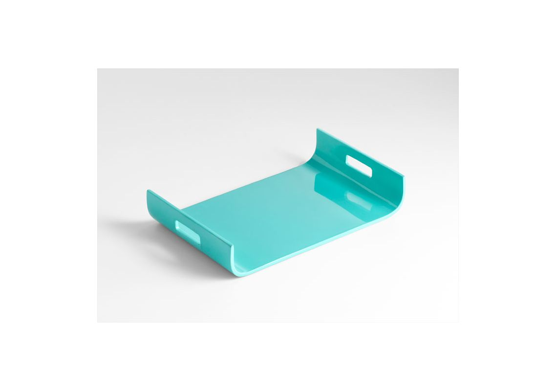 """Cyan Design 05480 19.25"""" Monroe Tray Turquoise Lacquer Home Decor"""