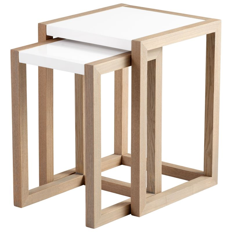 Cyan Design 05732 Becket Nesting Tables Grey Veneer and White