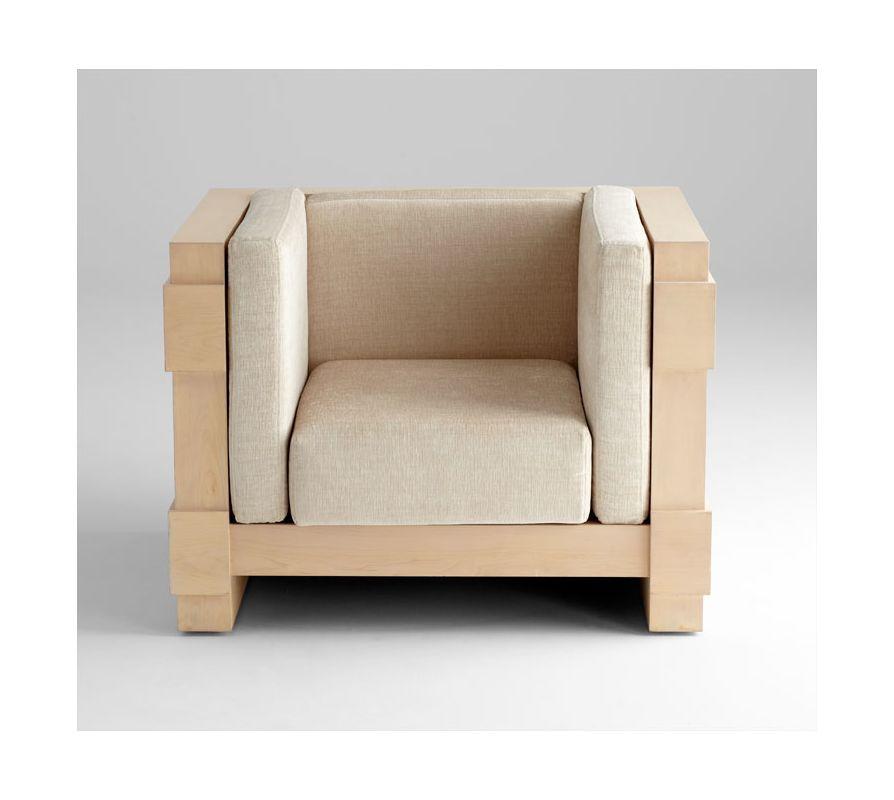 Cyan Design 05745 Mr. Pitt Cushioned Chair White Wash Maple Furniture