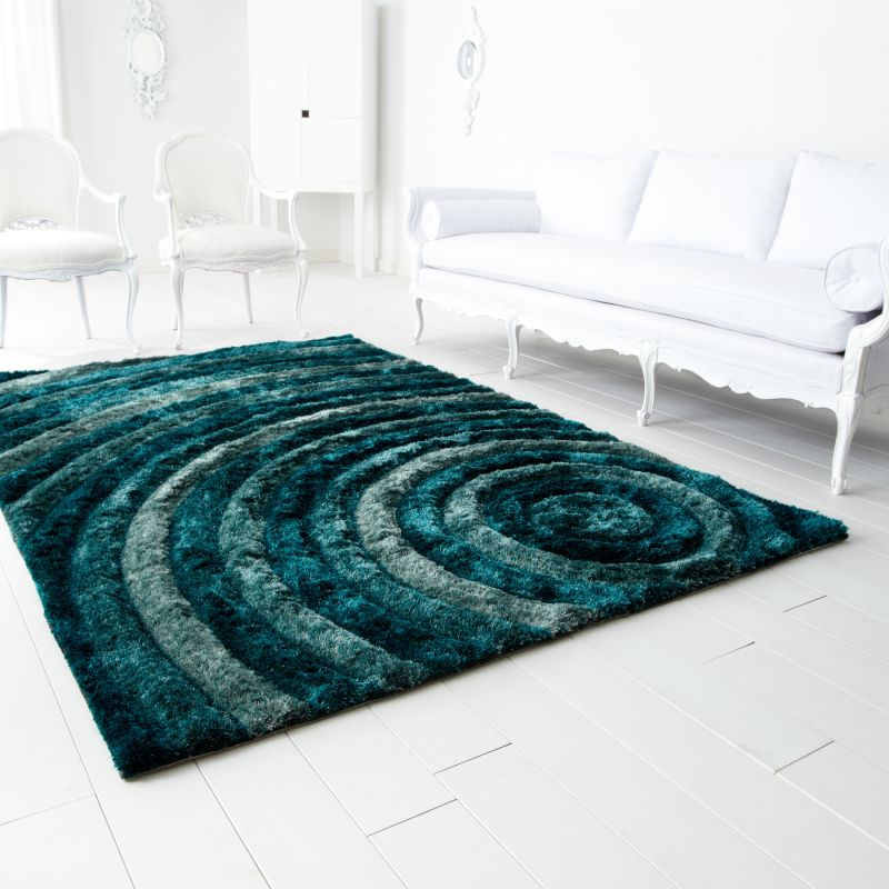 Cyan Design Girare Arte Blue Polyester Hand Tufted Rug 7 x 11 home