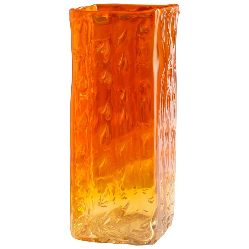 "Cyan Design 05853 16"" Large Fire Prism Vase Orange and Clear Home"